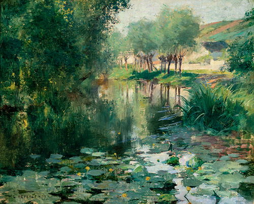 Willard Metcalf (1858-1925), Le Bassin aux nymphéas, 1887. Huile sur toile, 30,8 x 38,3 cm. Chicago, Terra Foundation for American Art, Collection Daniel J. Terra, 1993.5. © Terra Foundation for American Art, Chicago.