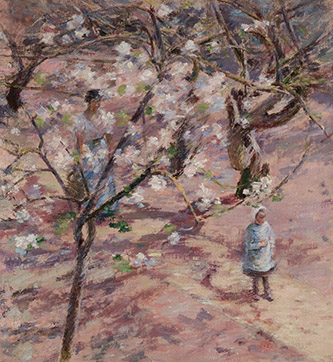 Theodore Robinson (1852-1896), Arbres en fleurs à Giverny, 1891-1892. Huile sur toile, 54,9 x 51,1 cm. Chicago, Terra Foundation for American Art, Collection Daniel J. Terra, 1992.130. © Terra Foundation for American Art, Chicago.