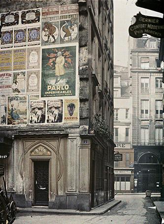 Frédéric Gadmer, Paris 1er, Maison borgne, rue du Pélican, octobre 1920, autochrome 12x9 cm. © Département des Hauts-de-Seine – Musée départemental Albert-Kahn – Collection des Archives de la Planète.