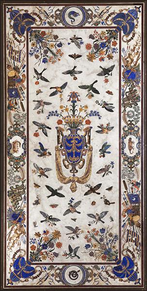 Grande Table des Orsini, bronze et marbre de Carrare orné de gemmes variées (lapis-lazuli, marbres antiques, jaspes, agates, albâtres, nacre…), XVIIe siècle © MNHN / B. Faye.