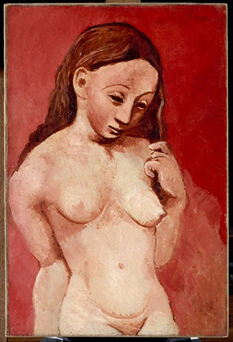 Pablo Picasso (1881 - 1973), Nu sur fond rouge, 1906. Huile sur toile, 81 x 54 cm. © RMN-Grand Palais (musée de l'Orangerie) / Hervé Lewandowski © Succession Picasso 2020.