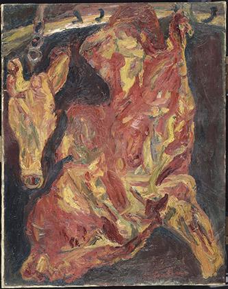 Chaïm Soutine (1893 – 1943), Boeuf et tête de veau. Vers 1925, Huile sur toile, 92 x 73 cm .© RMN-Grand Palais (musée de l'Orangerie) / Hervé Lewandowski.