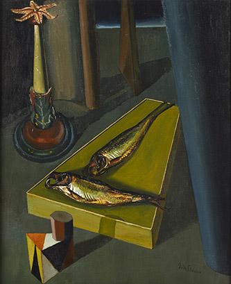 Giorgio de Chirico (1888-1978), Les poissons sacrés, 1918. Huile sur toile, 75,3 x 62 cm. Collection particulière. © Etro Collection/Manusardi SRL. © ADAGP, Paris, 2020.