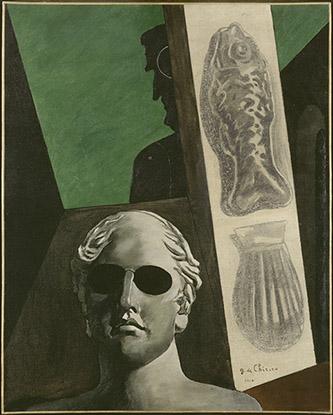 Giorgio de Chirico (1888-1978), Portrait (prémonitoire) de Guillaume Apollinaire, 1914. 81,5 x 65 cm. Musée national d'art moderne, Centre Pompidou, Paris. Photo © Centre Pompidou, MNAM-CCI, Dist. RMN-Grand Palais / Adam Rzepka. © ADAGP, Paris, 2020.