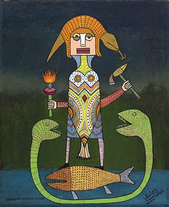 Victor Brauner, Jacqueline au grand voyage, 1946. Huile sur toile (46 x 38 cm). Crédit photographique : Paris Musées / Musée d' Art Moderne de Paris. © Adagp, Paris, 2020.
