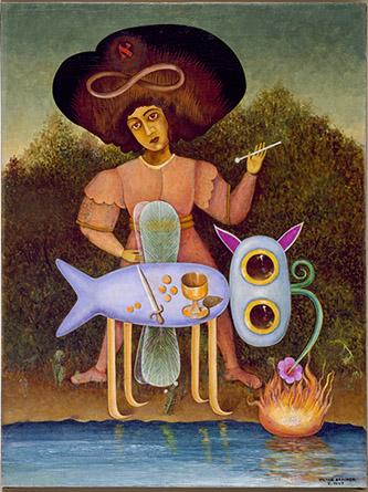Victor Brauner, Le Surréaliste, janvier 1947. Huile sur toile (60 x 45 cm). Crédit photographique : The Solomon R. Guggenheim Foundation, Peggy Guggenheim Collection, Venice, 1976. © Adagp, Paris, 2020.
