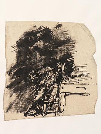 Antoine Bourdelle, Beethoven et son génie, Vers 1883. Plume et encre de Chine sur papier. Musée Bourdelle, Paris. Photo : Musée Bourdelle/Paris Musées.