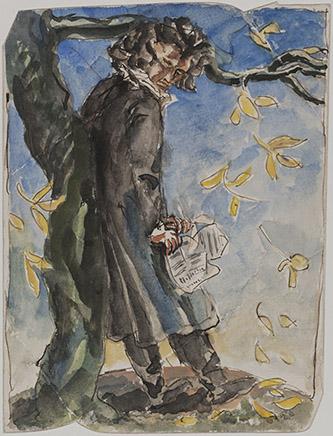 Antoine Bourdelle, Beethoven, Vers 1929. Crayon au graphite et aquarelle sur papier. Musée Bourdelle, Paris. Photo : musée Bourdelle/Paris Musées.