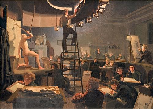 Wilhelm Bendz, L'École de modèle vivant à l'Académie des beauxarts de Copenhague, 1826. Huile sur toile, 57,7x82,5 cm, Copenhague, Statens Museum for Kunst. © SMK Photo/Jakob Skou-Hansen.