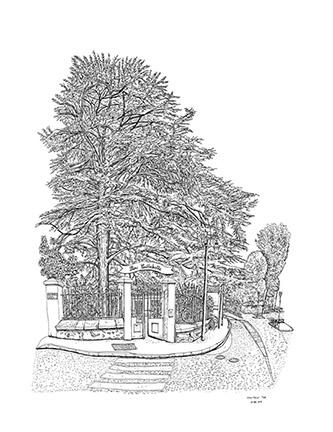 Christelle Téa, Le Parc Caillebotte, Propriété Caillebotte, Yerres, 26.VIII.2019. Encre de Chine sur papier, 65 x 50 cm.