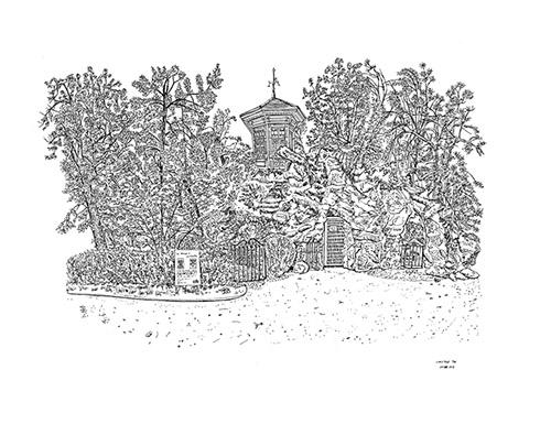 Christelle Téa, Le Kiosque et la Glacière, Propriété Caillebotte, Yerres, 27.VIII.2019. Encre de Chine sur papier, 50 x 65 cm.