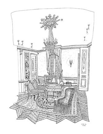 Christelle Téa, Le Salon, Propriété Caillebotte,Yerres, I.X.2019. Encre de Chine sur papier, 65 x 50 cm.