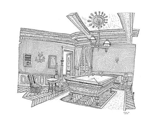 Christelle Téa, Salle de Billard, Propriété Caillebotte, 7.X.2019. Encre de Chine sur papier, 50 x 65 cm.
