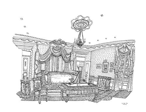 Christelle Téa, Chambre à coucher, Propriété Caillebotte, 14.X.2019. Encre de Chine sur papier, 50 x 65 cm.