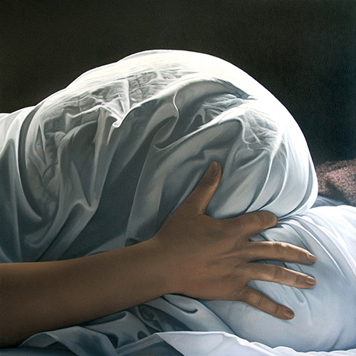 Gérard Schlosser, Il faut que j'aille ouvrir la galerie, 1978. Acrylique sur toile sablée, 150x150cm. © 2020 Adagp. Atelier Arcay.
