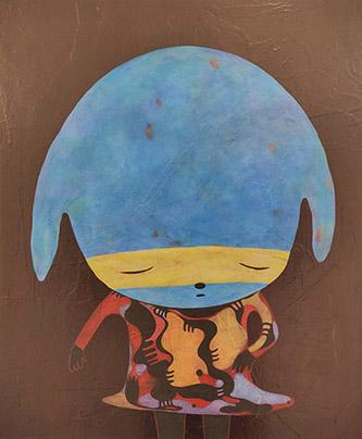 Maiko Kobayashi, Dance, 2019. Acrylique sur papier washi japonais monté sur panneau de bois, 60,5 x 50 cm. Pierre-Yves Caer.