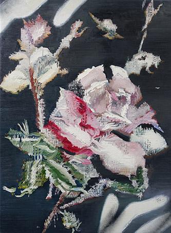 Mireille Blanc, Fleurs 1, 2017. Huile et spray sur toile, 60 x 44 cm. Courtesy & © artiste et Galeri. Galerie Anne-Sarah Bénichou.