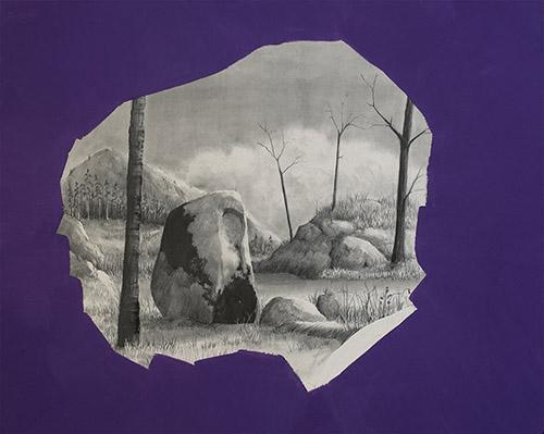 David Lefebvre, Mégalithe IV, 2019. Graphite et huile sur clayboard, 24 x 30 cm. Crédit David Lefèbvre. Galerie La Forest Divonne.