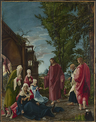 Albrecht Altdorfer, Le Christ prenant congé de sa mère, vers 1518-1520. Huile sur panneau, 141 x 111 cm, Londres, The National Gallery. © Londres, The National Gallery. Bought with contributions from the National Art Collections Fund (Eugene Cremetti Fund), the Pilgrim Trust and the National Heritage Memorial Fund.
