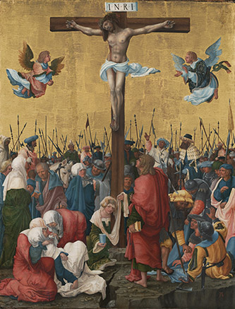 Albrecht Altdorfer, Crucifixion, vers 1520. Huile sur panneau, 75 x 57,5 cm, Budapest, musée des Beaux-Arts. © Svépművészeti Múzeum - Museum of Fine Arts Budapest 2020.