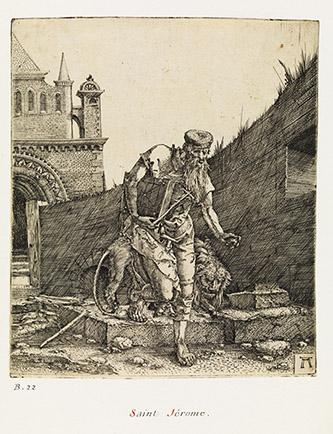 Albrecht Altdorfer, Saint Jérôme à la muraille, vers 1515-1517. Burin, 12,2 x 10,5 cm. Paris, musée du Louvre, département des Arts graphiques, collection Edmond de Rothschild. © Paris, Musée du Louvre, Dist. RMN-Grand Palais / Philippe Fuzeau.