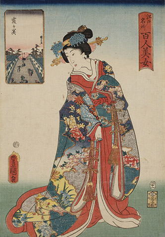 Utagawa Toyokuni III, Cent beautés de sites célèbres d'Edo : Kasumigaseki, 1857. © POLA Research Institute of Beauty and Culture.