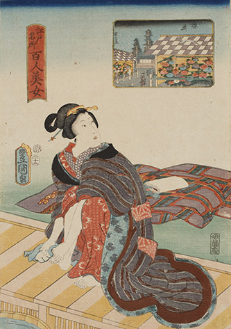 Utagawa Toyokuni III, Cent beautés de sites célèbres d'Edo : Somei, 1857. © POLA Research Institute of Beauty and Culture.