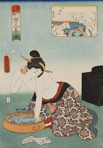 Utagawa Toyokuni III, Cent beautés de sites célèbres d'Edo : Goten-yama, 1858. © POLA Research Institute of Beauty and Culture.