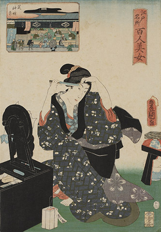 Utagawa Toyokuni III, Cent beautés de sites célèbres d'Edo : Devant le sanctuaire Shiba Shinmei, 1858. © POLA Research Institute of Beauty and Culture.