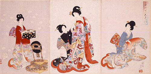Yôshû Chikanobu, Palais intérieur à Chiyoda – L'habillage, 1894-96. © POLA Research Institute of Beauty and Culture.