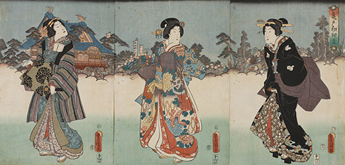 Utagawa Toyokuni, La fête du premier jour du lièvre à Kameido, 1854. © POLA Research Institute of Beauty and Culture.