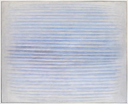 Václav Boštík (1913-2005), Fissonnement en bleu II, 1973. huile sur toile 81,5 x 100,5 cm. Coll. Claude et Henri de Saint Pierre. ©Droits réservés.