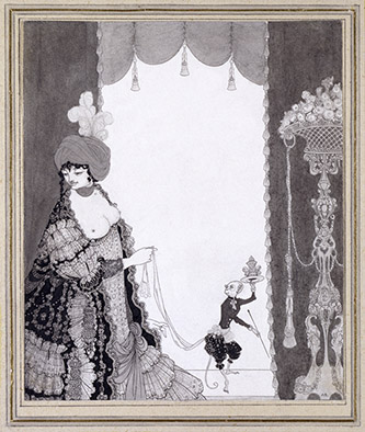 Aubrey Beardsley (1872-1898), The Lady with the Monkey, 1897. photo-etching on paper, 22 cm × 18.9 cm. Royaume-Uni, Londres, Victoria and Albert Museum. Photo : © Victoria and Albert Museum, London.