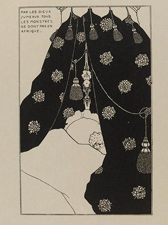 Aubrey Beardsley (1872-1898), Autoportrait au lit, 1894. line block print on paper, 16,5 cm x 10,4 cm. Royaume-Uni, Londres, Victoria and Albert Museum. Photo : © Victoria and Albert Museum, London.
