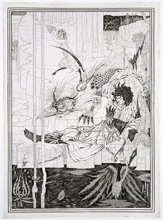 Aubrey Beardsley (1872-1898), How King Arthur Saw the Questing Beast, and thereof had Great Marvel, 1893. ink and wash on paper, 37, 8 com x 27 cm. Royaume-Uni, Londres, Victoria and Albert Museum. Photo : © Victoria and Albert Museum, London.