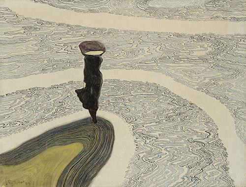 Léon Spilliaert (1881 - 1946), Femme au bord de l'eau, 1910. Encre de Chine, pinceau, crayon de couleur et pastel sur papier, 47,1 x 60,2 cm. Collection privée. Photo © Cedric Verhelst.