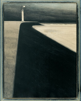 Léon Spilliaert (1881 - 1946), Phare sur la digue, 1908. Lavis d'encre de Chine, pinceau, poudre d'argent et crayon de couleur sur papier, 64 x 48,6 cm. Collection privée. © droits réservés.