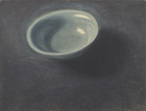 Léon Spilliaert (1881 - 1946), La Coupe bleue, 1907. Lavis d'encre de Chine, aquarelle et crayon de couleur sur papier, 48 x 63 cm. Inv. SM000058, Collection Mu.ZEE, Oostende. © Mu.ZEE, Dominique Provost, 2019.