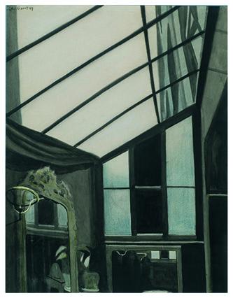 Léon Spilliaert (1881 - 1946), La Verrière, 1909. Lavis d'encre de Chine, pinceau et crayon de couleur sur papier, 64,5 × 50,5 cm. Collection particulière. © droits réservés.