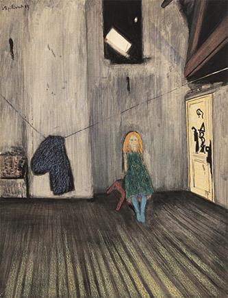 Léon Spilliaert (1881 - 1946), Toute seule, 1909. Lavis d'encre de Chine, pinceau et pastel gras sur papier, 64 x 49 cm, museum Dhondt-Dhaenens, Deurle, Belgium. Photo: Guy Braeckman (AD/ART), © SABAM Belgium 2016.