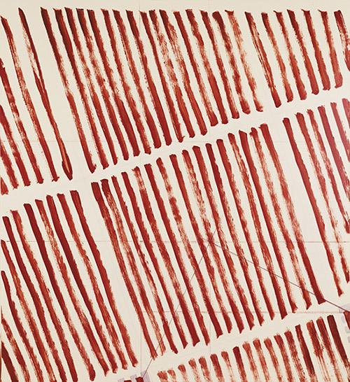 Martin Barré, 75-76-D-157x145, 1975-1976. Acrylique sur toile, 157 x 145 cm. Collection privée, Paris. Courtesy Matthew Marks Gallery, New York. © Martin Barré, Adagp, Paris 2020. Photo : Ron Amstutz.