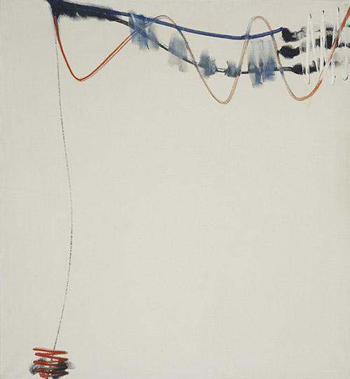 Martin Barré, 62-F, 1962. Huile sur toile, 96 x 88 cm. Fondation Gandur pour l'Art, Genève. Courtesy Archives Martin Barré, Paris. © Martin Barré, Adagp, Paris 2020.