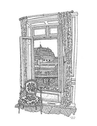 Christelle Téa, Vue de la fenêtre sur le Palais de la Découverte, 2.VI.2020.