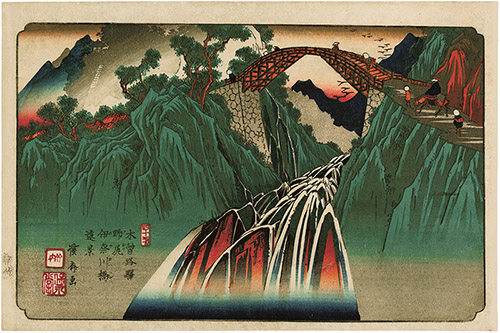 Utagawa Hiroshige (1797–1858), Les Soixante-neuf Relais de la route du Kisokaidō, Relais n°32. Seba, 1835-1838. Xylogravure polychrome, format ōban yoko-e. © Fundacja Jerzego Leskowicza