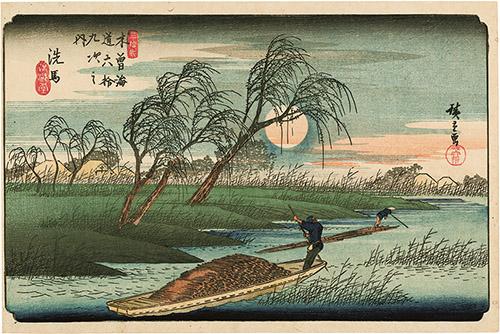 Utagawa Hiroshige (1797–1858), Les Soixante-neuf Relais de la route du Kisokaidō, Relais n°27. Ashida, 1835-1838. Xylogravure polychrome, format ōban yoko-e. © Fundacja Jerzego Leskowicza.