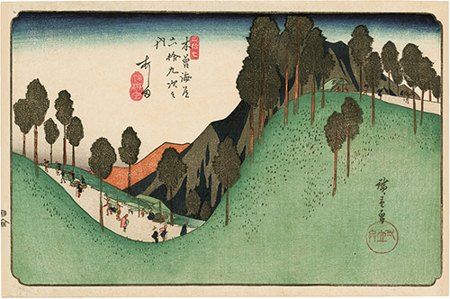 Keisai Eisen (1790–1848), Les Relais de la route du Kisoji, Relais n°41. Nojiri: vue du pont de la rivière Inagawa, 1835-1838. Xylogravure polychrome, format ōban yoko-e. © Fundacja Jerzego Leskowicza.