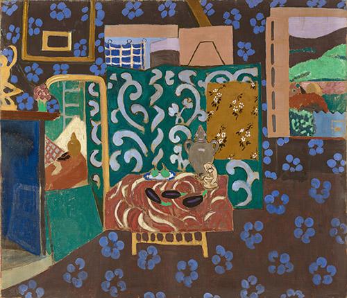 Henri Matisse, Intérieur aux aubergines, 1911. Détrempe à la colle sur toile, 212 × 246 cm. Musée de Grenoble. Don de Madame Amélie Matisse et  Mademoiselle Marguerite Matisse, 1922. © Succession H. Matisse. Photo © Ville de Grenoble/Musée de Grenoble- J.L. Lacroix.