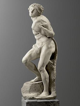 Michelangelo Buonarroti, dit Michel-Ange, L'esclave rebelle. 1513-1516. Paris, musée du Louvre, département des Sculptures. © Musée du Louvre, dist. RMN - Grand Palais / Raphaël Chipault.