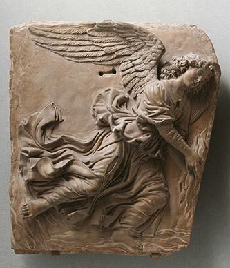 Andrea del Verrocchio et atelier. Deux anges volants, vers 1480. Paris, musée du Louvre, département des Sculptures, legs de Madame Adolphe Thiers, 1881. © RMN – Grand Palais (Musée du Louvre) / René-Gabriel Ojéda.