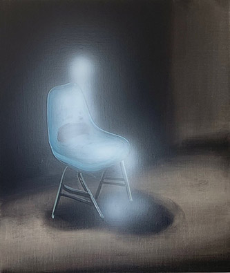 Tala Madani,Ghost Sitter (blue chair), 2020. Oil on linen, 50,8 x 43,2 x 2,5 cm. Courtesy of the artist and Pilar Corrias (London). Photo credit: Flying Studio (Los Angeles).